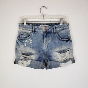 Zara High Waist Destroyed Shorts